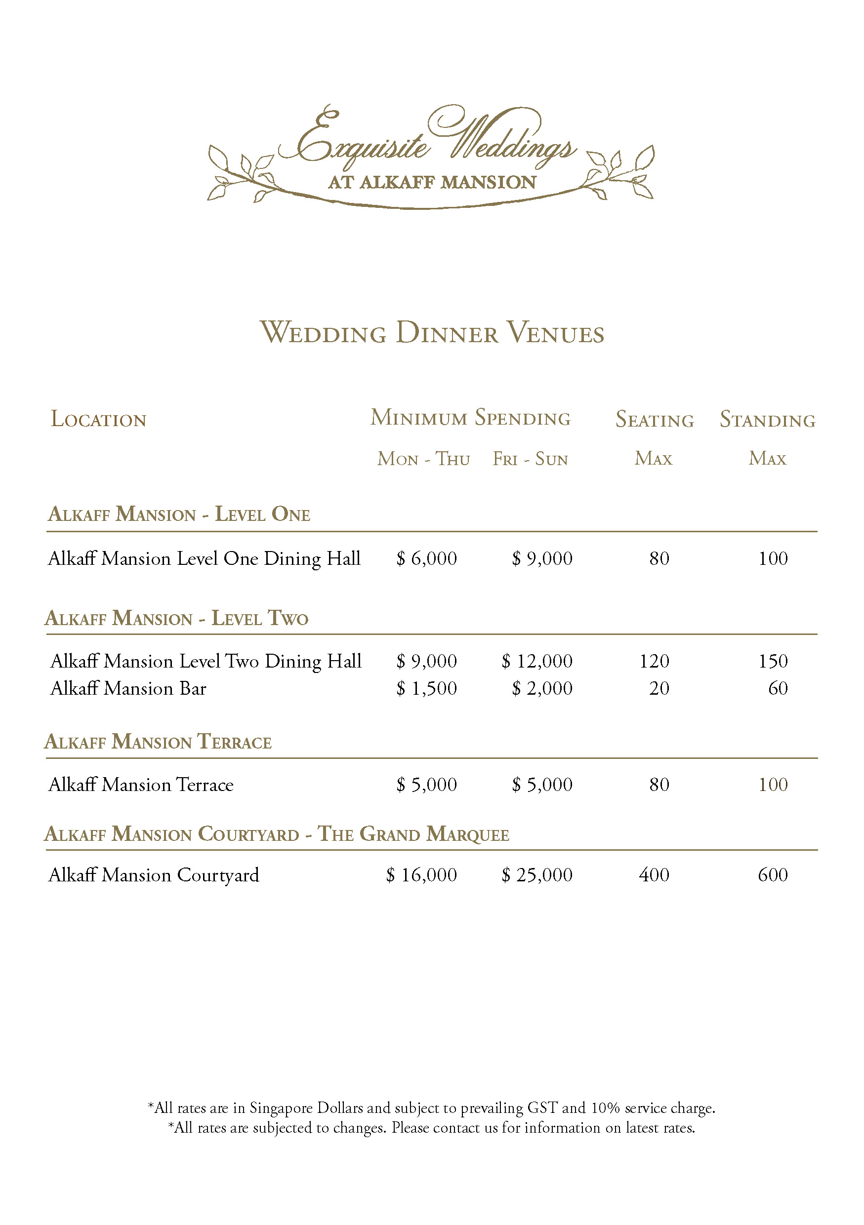 Alkaff Mansion Ristorante Wedding Venue 2016 Singapore Bridal Planner Dream Boutique Rate Card 2017