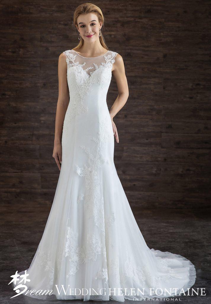 9c2bf6fb44 Formal Chic Trumpet Dress With Appliqués Style # HFW2711 - Dream Wedding