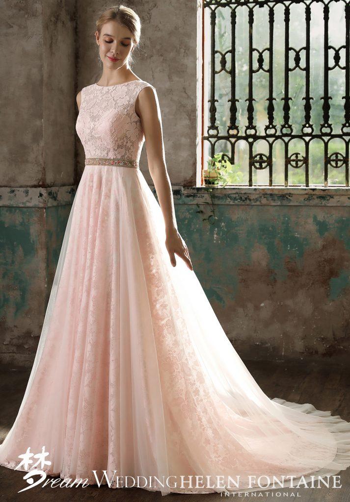 de3b3409a35e Modest Blush Cap Sleeve A-Line Dress Style # HFW2728 - Dream Wedding