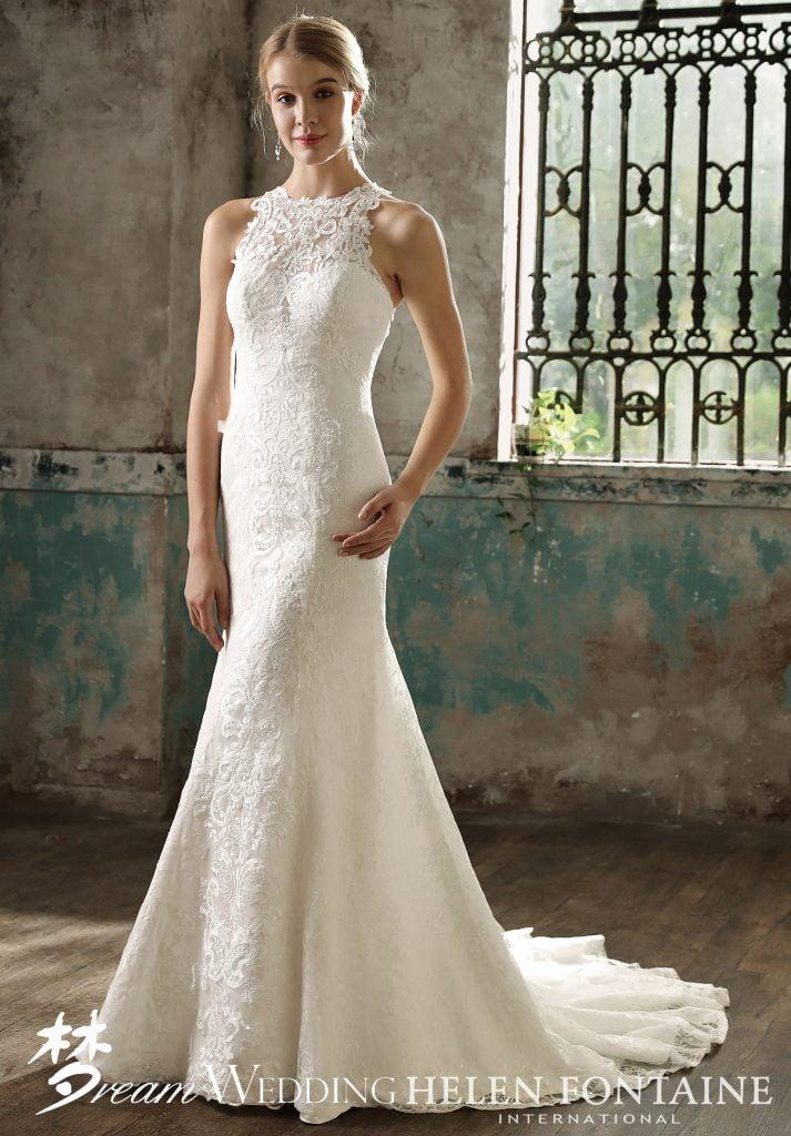 09f5e957a4 Elegant Lace Halter Sleeveless Mermaid Dress Style   HFW2730 - Dream ...