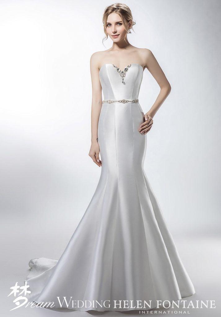 2c568573bf41 Silhouette: Mermaid; Neckline: Sweetheart; Sleeve Type: Sleeveless; Back:  Zipper Back; Train Length: Court; Fabric: Satin; Colour: White ...