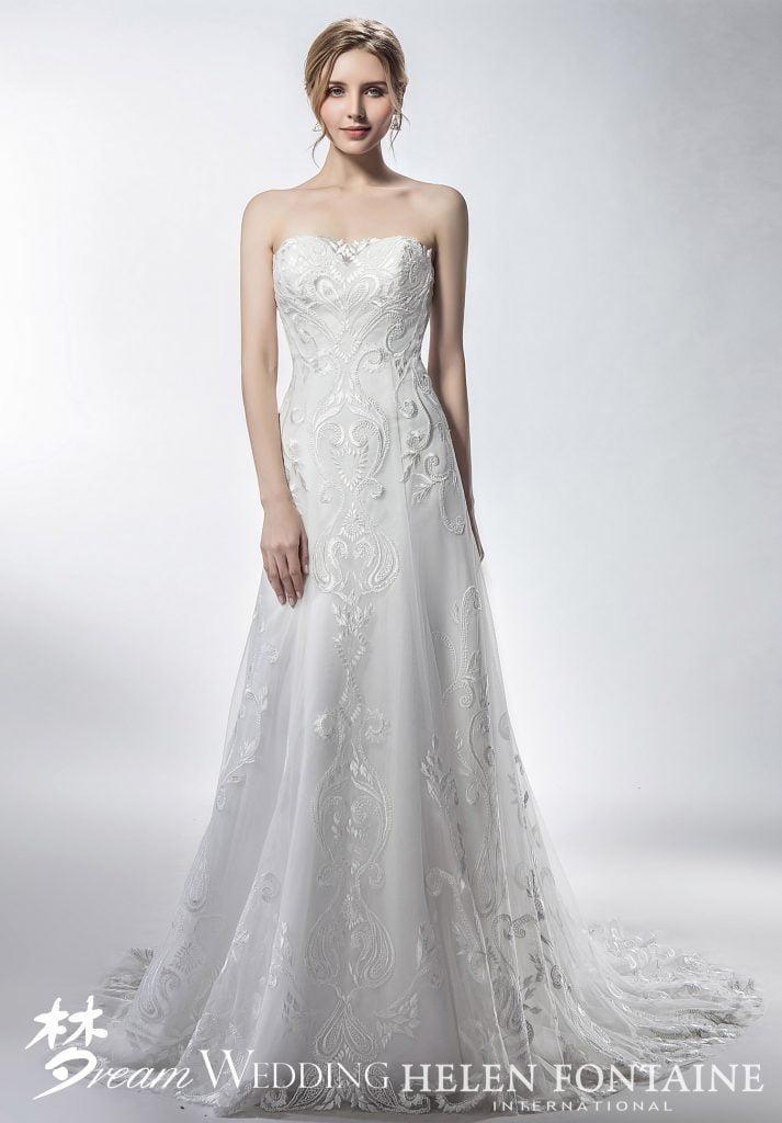 55a05173c4 Strapless Vintage Lace A Line Wedding Dress Style # HFW2760 - Dream ...