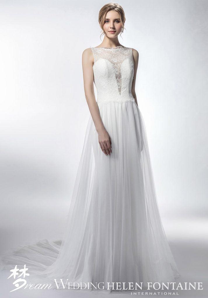 Sleeveless Sheath Wedding Dress With Translucent Plunging Neckline Style Hfw2761