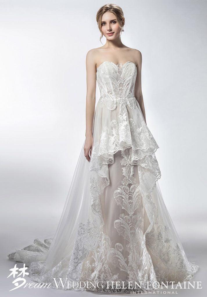 a46a354e8b Ruffles Lace Sweetheart Wedding Dress Style # HFW2762 - Dream Wedding